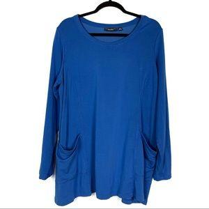 Susan Graver Blue Light Sweater with Pockets EUC
